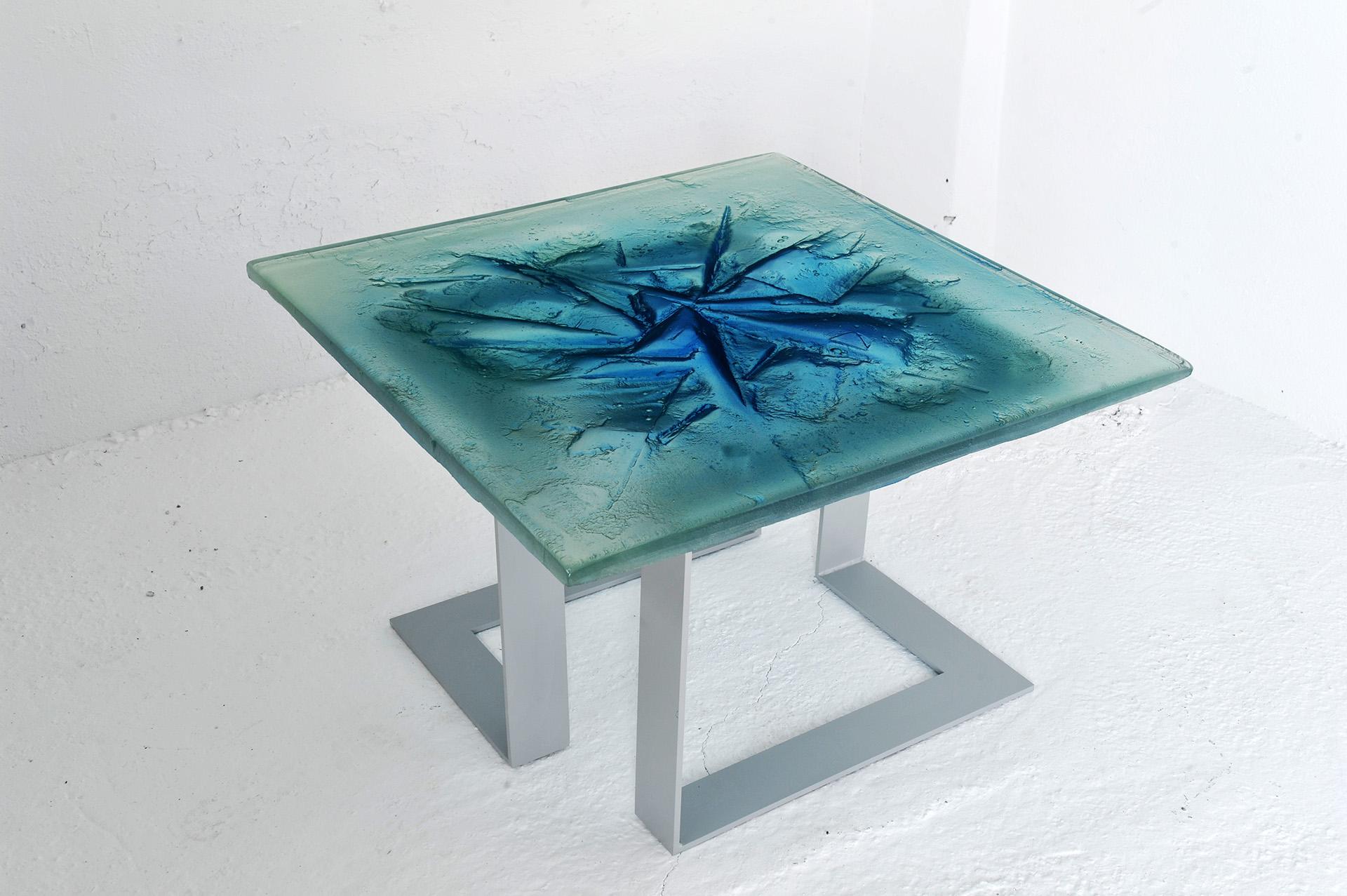 Archiglass Applied Arts Glass Table Stolik Szklany Kra Niebieski Szary 80x80