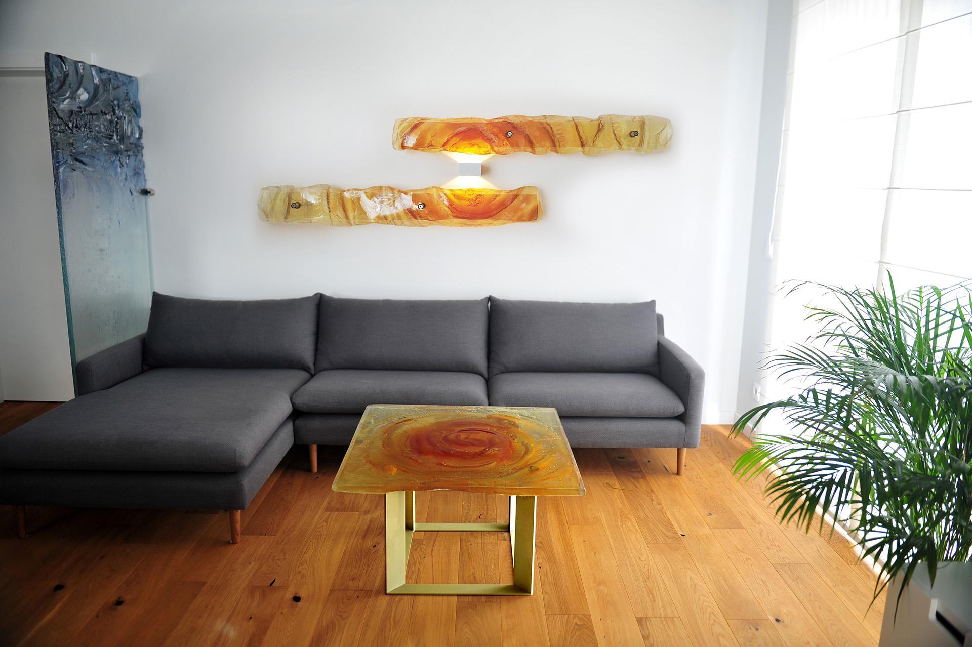 Archiglass Applied Arts Glass Table Stolik Szklany Bursztynowy Wulkan Amber Volcano Mosiądz Brass 80x80