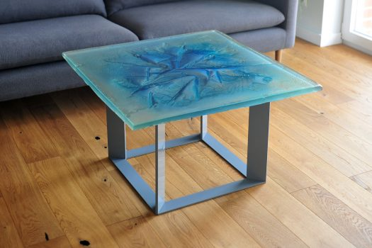 Archiglass Applied Arts Glass Table Stolik Szklany Akwamarynowy Lodowiec Aquamarine Glacier Szary Grey 80x80