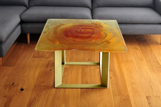 Archiglass Applied Arts Glass Table Stolik Szklany Bursztynowy Wulkan Amber Volcano Mosiądz Brass 80x80