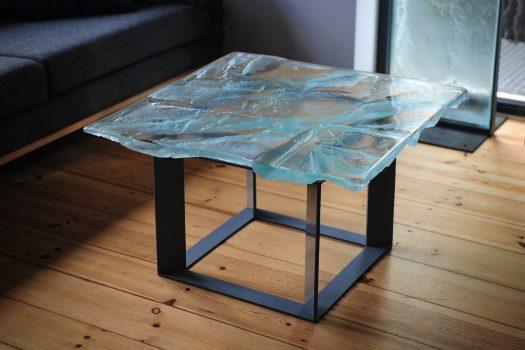 Archiglass Applied Arts Glass Table Stolik Szklany Diamentowa Dolina Diamond Valley Stal Malowana 80x80