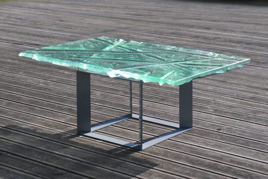 Archiglass Applied Arts Glass Table Stolik Szklany Szmaragdowe Wzgórza Emerald Hills Stal Malowana 80x120