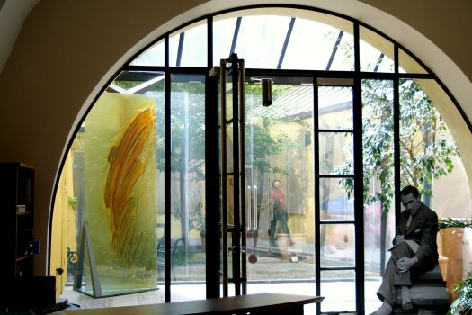 Artistic glass piece by Archiglass, Tomasz Urbanowicz at Polish Institute in Prague, Czech Republic. All rights reserved.
