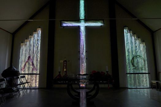 Artistic glass by Archiglass, Tomasz Urbanowicz at the Evangelical Church of the Augsburg Confession in Dzialdow, Poland. All rights reserved.