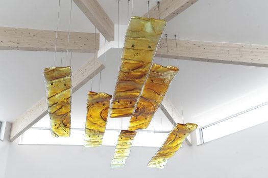 Suspended glass art sculpture